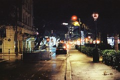 Via Giulietta Masina (goodfella2459) Tags: nikonf4 afnikkor50mmf14dlens cinestill800t 35mm c41 film analog night colour rimini street road viagiuliettamasina federicofellini giuliettamasina light italy
