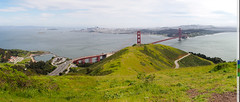 Golden Gate Panorama with San Francisco Cityscape (citizenlouie) Tags: 14x33 2019 alcatrazisland california goldengate goldengatebridge goldengaterecreationarea marinheadlands northerncalifornia omdem5mkii olympus sanfrancisco sanfranciscobay spring bridges cityscape cloudy cropped downtown landscape panorama postprocessed straightened touristattractions travelphotography tripod vistapoint unitedstates us