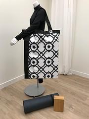 Extra Large Tote Bag (My Yoga Room Elements) Tags: extralarge yogabagshouldertote blackwhitegraphicprint oversized heavyduty lightweight washable hugebigequipmentbag