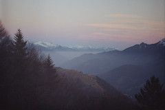 (Silvia Kuro) Tags: sunset landscape paesaggio tramonto nature natura mist misty fog pink mountain montagna mountains trees tree alberi sky woods forest fantasy fairytale film analog analogue analogic analogico analogica 35mm