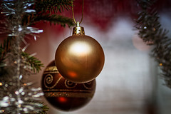 Two Baubles On A Christmas Tree (k009034) Tags: 500px xmas copy space finland scandinavia tranquil scene ball bauble branch christmas decorations holidays indoors light no people old ornament reflection spruce tinsel traditional tree two winter teamcanon copyspace tranquilscene nopeople