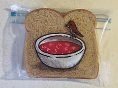 Tiny Bird or Large Soup Bowl (D Laferriere) Tags: nationalsoupmonth alphabetsoup bowl soup bird kritzels attleboro laferriere markers sandwich bag art sharpie