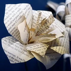 IBuenz_paperFlowerPot5 (Isabell Buenz) Tags: booksculpture paperart papersculpture bookart bookpages exhibition commission scotland edinburgh isabellbuenz buenz recycled closeup nature flowers paperflowers origami thread stitching solublefabric ibuenz papercutting
