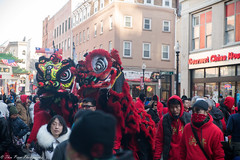 The charge of the two red dragons. (kuntheaprum) Tags: chinatownboston chinesenewyearcelebration yearofthepig sony a7riii tamron 2470mm f28 festival parade dragon firework