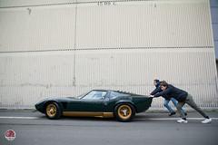 Lamborghini Miura P400S Millechiodi (GPE-AUTO) Tags: rétromobile show paris france rétro classic car classiccar legend legacy lamborghini miura p400 lamborghinimiura miurap400 simonkidston kidston sell p400s green verte verde uploading pushing man men motion action