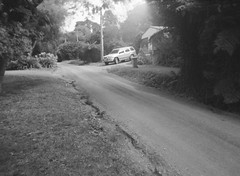 Summerlea Road (photo 3) (Matthew Paul Argall) Tags: belomoetude fixedfocus 120film 120 mediumformat blackandwhite blackandwhitefilm meniscuslens ilfordhp5plus hp5 400isofilm road street summerlearoad