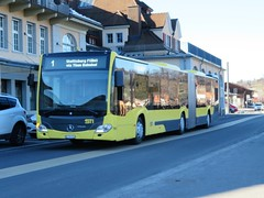 STI Bus at Spiez Station (deltrems) Tags: sti bus public transport bendy articulated spiez berner bernese oberland swiss switzerland