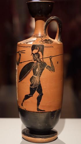 Athenian Black Figure lekythos with pyrrhic dancers, 3