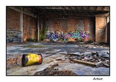 Shell (Artico7) Tags: abandoned factory paintings graffity shell grease yellow red bucket decadence abbandonato fabbrica mattoni remanzacco ud italy friuli fuji xe1 digital color colour colore saturated empty lost forgotten