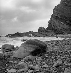 Heddons Mouth (ronet) Tags: barnacles beach blackandwhite cliffs coast dartmoor deven diydeveloped film hasseblad hasseblad500cm headonsmouth ilforddelta100 nationaltrust rocks sea