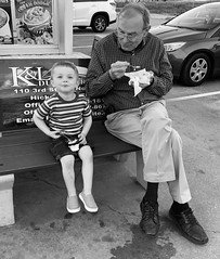 """Boy and his Grandpa enjoying some ice cream <a style=""""margin-left:10px; font-size:0.8em;"""" href=""""http://www.flickr.com/photos/8781061@N06/32640224167/"""" target=""""_blank"""">@flickr</a>"""
