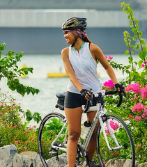 Cyclist (Beegee49) Tags: street cyclist cycling bicycle singaporean sony a77 young woman smiling laughing singapore asia happy planet