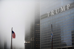 Trump (Anthony Mark Images) Tags: trump trumptower chicago illinois usa fog americanflag hotel oldglory starspangledbanner parking windows skyscraper flagpoles architecture nikon d850