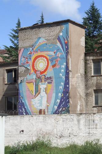 Mosaic on the wall of Zestafoni Ferroalloy Plant, 10.09.2013.