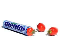 expect the unexpected (brescia, italy) (bloodybee) Tags: mentos candy sweets tomato vegetables food humor fun stick stilllife mints