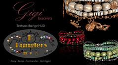 KUNGLERS - Gigi bracelets (AvaGardner Kungler) Tags: kunglers secondlife avagardnerkungler avakungler mesh bracelet hud virtualworld digital jewelry 3d