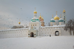 RUS70486 - Winter Time #15. Monastery (rusTsky) Tags: winner winter snow white monastery orthodox church sky landscape tower wall old exterior outdoor frozen cold pigeons bird canon 5deos