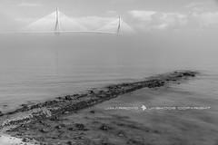 LA BARRIADA BEACH (José Mª Arroyo) Tags: jabkdos jmarroyo jab josémªarroyo cádiz bahíadecádiz mar niebla bw barriadadelapaz puente puentedelaconstitución puentedelapepa