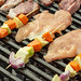 Vegetables and Chicken Meat on BBQ