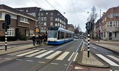 Stukkie om (Peter ( phonepics only) Eijkman) Tags: amsterdam city combino gvb detour omleiding roadworks wegwerkzaamheden tram transport trams tramtracks trolley rail rails strassenbahn streetcars nederland netherlands nederlandse noordholland holland