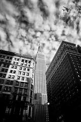 At the intersection of tall and wide (Dan Haug) Tags: empirestatebuilding skyscraper newyorcity nyc architecture monochrome balckandwhite skyline airbusa380 emirates xt3 xf16mmf14rwr xf16mm fujifilm fujixseries
