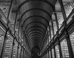 Trinity College library, Dublin (Hammerhead27) Tags: infinity view olympus monochrome design building mono bw blackandwhite beauty roof ceiling classic old ireland dublin tourist famous books library longhall trinitycollege