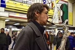 (-»james•stave«-) Tags: newyork nyc music saxophone jazz blues people man subway alexlodicoensemble mural art popart roylichtenstein street nikon d5300
