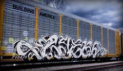 (timetomakethepasta) Tags: ryek ryeks freight train graffiti art up union pacific autorack