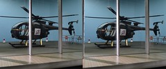 Mr. Osato's helicopter in 3D. (Greg Bumpo) Tags: jamesbond jamesbondmovies youonlylivetwice scalemodel scalemodels diorama toysanddioramas seanconnery 3d stereophotograph stereoscopicphotograph stereoscopic viewmaster