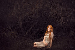 Brambles and Vines ({jessica drossin}) Tags: jessicadrossin portrait dress lace redhair redhead hair long white red vines weeds alone dark