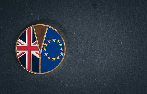 Brexit medal coin on a black background