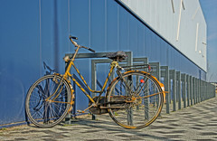 The Lonely Bicycle (Hindrik S) Tags: bike fyts fiets rad fahrrad bicycle biciclette portevélos velo fahrradständer bicyclestand iishal ijshal elfstedenhal wall muorre muur mauer hdr paintshoppro x8 color kleur farbe colorful colour couleur sonyphotographing sony sonyalpha α77 slta77ii sonyilca77m2 2019 sony1650mmf28dtssm sal1650