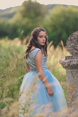 Look Back ({jessica drossin}) Tags: jessicadrossin portrait girl teen blue dress grass long mountain hill face hair wwwjessicadrossincom