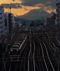 Fantastic Mt.Fuji (seiji2012) Tags: 富士山 京王線 幡ヶ谷 鉄道 レール tokyo japan mtfuji rail sunset train happyplanet asiafavorites
