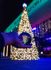 Lens Ball in front of the Christmas Tree at the Long Beach Performing Arts Center (SCSQ4) Tags: bokeh california christmas christmasinmyhometown christmaslights downtownlongbeach lensball lights longbeach longbeachperformingartscenter terracetheater