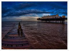 clee pier and walkway (Mallybee) Tags: cleethorpes pier blue sky water sea humber walkway mallybee lumix panasonic dcg9 g9 sayang fisheye 75mm f35 wideangle seascape
