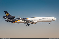 [DXB.2017] #United.Parcel.Service #UPS #McDonnell.Douglas #MD11 #N296UP #Cargo #awp (CHR / AeroWorldpictures Team) Tags: united parcel service mcdonnell douglas md11f msn 48474 485 pw pw4460 reg n296up history aircraft dec1991 first flight n30075 built site long beach klgb ca usa delivered deltaairlines dl dal n803de cabin c50y219 leased worldairways wo woa c24y199 painted 1970retro special colours sold ups delta remained lease return unitedparcelservice 5x landing md11 dubai dxb omdb uae planespotting plane aircrafts airplane nikon d300s nikkor lightroom raw chr aeroworldpictures 2017