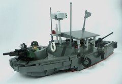 USN Patrol River Boat Mk.II (1) (Lonnie.96) Tags: lego brick block piece moc own creation model scale real design 1 day 2019 brickvention bv19 mk ii patrol boat river vietnam pbr viet cong usn united states navy us 1967 67 north south vietnamese army delta jet shallow grey dark light red radar flag tire minifig 50 caliber m2 barrel roof stars stripes mount turret twin antenna hull fiberglass m16 law rifle m72 mechanic gunner