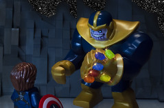 """""""As long as one man stands against you, you'll never be able to claim victory"""" (Ben Cossy) Tags: thanos infinity war guantlet gem stone cap captain america steve rogers lego moc afol tfol comicbook comic space soul mind power reality time avengers"""