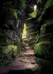 Lud's Church, South Entrance - Peak District (Luke Goodway) Tags: luds church gorge rock valley fairy glen light magic magical autumn sunlight leaves moss green beams