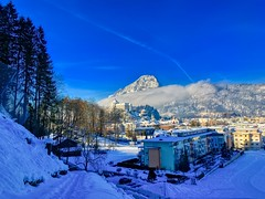 Winter morning in Kufstein with Fortress and Pendling mountain, Tyrol, Austria (UweBKK (α 77 on )) Tags: österreich winter morning snow ice cold path hike tree forest pendling mountain valley fortress kufstein tyrol tirol austria europa europe iphone shadow