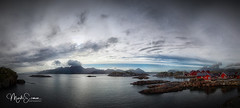 Panoramic view of Statles Rorbuer (marko.erman) Tags: norway nordland village fishermen sea mountains water clouds beautiful sony scenic idyllic nature outdoor outside travel popular quiet serenity drying flake pure transparency landscape nordic steep sunny montagne ciel paysage eau lac mer rorbuer houses red dwelling reflections lofoten mortsund panorama stitching