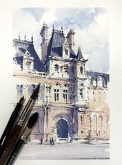 Hôtel de Ville, Paris (alexhillkurtzart) Tags: watercolor paris