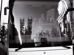 Tothill Street (Pierrot le chat) Tags: streetphotography scènederue london england bus blackandwhite westminster noiretblanc reflections