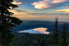 Valentine's Lake (TierraCosmos) Tags: threecreeklake deschutesnationalforest forest lake sunset clouds scenic landscape heartshape heart water trees sky dramaticsky reflection valentines valentine