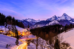 Bavarian Blue Hour (drasphotography) Tags: bavaria bayern alpen blue hour blaue stunde alps watzmann church chapel lighttrails winter long exposure