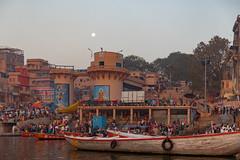 Varanasi, India (Ninara) Tags: varanasi india uttarpradesh ghat ganges ganga gangaaarti sadhu nagasadhu sunrise morning bathing holycity dashashwamedhghat dashashwamedh moon kashi benares