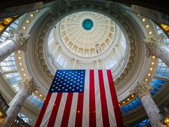 Idaho Patriotism (ahockley) Tags: architecture boise capitol dome flag idaho idahostatecapitol lookingup rotunda unitedstates us