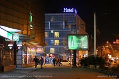"""Radiator"" Hotel (Hotel Centar) (srkirad) Tags: travel novisad serbia srbija night winter newyear streetlights architecture facade hotel hotelcentar fences grill people streetphotography urban"