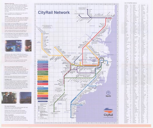 Cityrail network map of the Sydney region, showning both ...